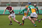 Galway v Offaly Allianz Hurling League Division 1B game at O'Connor Park, Tullamore.<br /> galway's Adrian Touhy and Offaly's Sean Gardiner