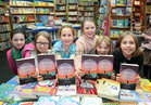 Aisling, Aoibheann, Anna, Bella, Cleona and Roisín, Gaelscoil Mhic Amhlaigh Rang 4 Book Club members, at the launch of Patricia Forde's new novel, 'Mother Tongue' in Charlie Byrne's Bookshop.