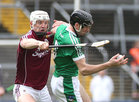Galway v Limerick Allianz Hurling League semi-final in Limerick.<br /> Galway's Joe Canning and Limerick's Diarmaid Byrnes