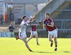 Galway v Cork Allianz Football League Division 2 Round 1 game at the Pearse Stadium.<br /> Galway's David Walsh and Cork's Luke Connolly