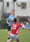 Galwegians v Cashel Ulster Bank All Ireland League Division 2A game at Crowley Park.<br /> Morgan Codyre, Galwegians, and Richard Kingston, Cashel.<br />