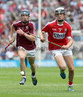Galway v Cork All-Ireland Minor Hurling Championship final at Croke Park.<br /> Galway's Donal Mannion and Cork's Ger Millerick