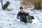 Having fun in the snow at Salthill Park