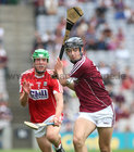 Galway v Cork All-Ireland Minor Hurling Championship final at Croke Park.<br /> Galway's Daniel Loftus and Cork's Aaron Walsh Barry