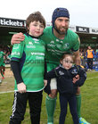 Connacht v Leinster Guinness PRO12 game at the Sportsground.<br /> Connacht captain John Muldoon with Connacht mascots, his niece, 4 years old Emma Muldoon from Gortanumera, and Archie Naughton from Creggs, before the start of his 300th game for Connacht at the Sportsground last Saturday.