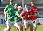 Abbeyknockmoy v Moycullen Senior Hurling B Group 2 game at the Pearse Stadium.<br /> Brian Flaherty, Abbeyknockmoy and Danny Gleeson and Robert Mollopy, Moycullen