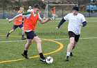 Dave Collins and Ronnie Crowe in action during the annual COPE Galway charity match.<br />