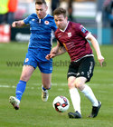 Galway United v St Patrick's Athletic SSE Airtricity League Premiere Division game at Eamonn Deacy Park.<br /> Galway United's Conor Melody and Patrick Cregg, St Patrick's Athletic