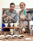 Frano Petrovic, Coffee Town Galway, and Linda Lydon, Brazco Coffee, Oranmore, at Oranmore Enterprise Town Business, Sports and Community Expo, hosted by the Bank of Ireland at Calasanctius College last weekend.