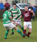 West United v Castlerea Celtic at South Park.<br /> Geoffrey Power, West United, and Ronan Curran and Cathal Dineen, Castlerea Celtic