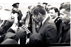 President John F Kennedy visited Galway in June 1963, five months before his assassination. <br /> <br /> He landed in a helicopter at the Sportsground in College Road where he was greeted by Mayor of Galway, Paddy Ryan. <br /> <br /> They proceeded by motorcade to Eyre Square where the President made a speech and was conferred with the freedom of the City. <br /> <br /> The motorcade then went through the town to Salthill where the President was taken by helicopter from the car park beside Seapoint to Limerick.<br /> <br /> As the President disembarked from his helicopter he was met by 320 children from the Mercy Convent, Galway dressed in green, white and orange ponchos.