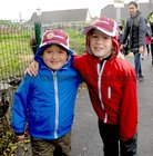 <br /> Colm McGuinness, with his brother Paddy on his first Day at Menlo National School.