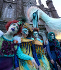 Some of the 'Sea Creatures' at the start of the Macnas Halloween Parade, 'Port Na bPúcaí' (Song of the Spirits), at NUI Galway on Sunday evening.
