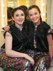 Sarah Tannian and Jenna Byrnes before going on stage in the opening performance of the Renmore Pantomime, Beauty and the Beast, a new script by Peter Kennedy, at the Town Hall Theatre.
