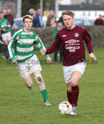 West United v Castlerea Celtic at South Park.<br /> Joe Collins, West United and Damian Freyne, Castlerea Celtic
