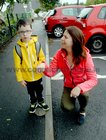<br /> Aidan Brennan, with his mother Sinead on his first Day at Menlo National School.