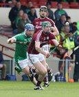 Galway v Limerick Allianz Hurling League semi-final in Limerick.<br /> Galway's Cathal Mannion and Joseph Cooney and Limerick's Richie McCarthy