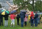 The dome as it partially collapses during the heavy rainfall on Sunday.<br /> A replica of the dome of Galway Cathedral built with cardboard boxes on Saturday was Olivier Grossetête's 'The People Build' architectural project at Eyre Square as part of Galway International Arts Festival. The following day the heavy rainfall and wind did not deter children, and some adults, demolishing the dome. The wet weather caused the dome to partially collapse. Following it's demolition the cardboard was taken away by Walsh Waste for recycling.