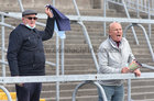 St Brendan's supporters Sean and Tom Connolly from Newbridge cheer on their team during the Junior County Football final against Clifden at Pearse Stadium last Saturday.