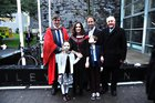 Andrea Holmes, Kingston, with Professor Tim O'Brien, children Tess and  Stephen, husband John and her father Serg Bruzzi, after she was Conferred with a M.Sc in Clinical Research.