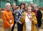There was a warm welcome for 90 years old Noreen Kennedy from Renmore when she met with count staff when she visited the Galway West count centre at Galway Lawn Tennis Club. Noreen was a member of the count staff during elections in the late 1950's. She is pictured with Galway West Returning Officer Marian Chambers Higgins (third from left) and count staff, from left, Ann Pomphrett, Ailish Rohan, Emily Silke, Kevin O'Brien and Susan Mahon. <br />