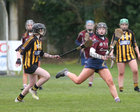 Presentation College, Athenry, v Loreto Secondary School, Kilkenny, Tesco All-Ireland Post Primary Junior A Camogie Final in Banagher.<br /> Grace Leen, Presentation College, Athenry, and Rose Kelly, Loreto Secondary School, Kilkenny