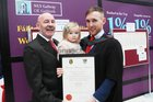 <br /> Aaron Long, Knocknacarra, with his daughter Audrey, father John after he was conferred with a MSC in Human Resources Managmebt.