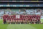 Galway v Cork All-Ireland Minor Hurling Championship final at Croke Park.<br /> ALL-IRELAND MINOR CHAMPIONS: The Galway panel prior to Sunday's win over Cork in the All-Ireland Minor Hurling Championship final at Croke Park. Back: Conor Walsh, Sean Bleahene, Enda Fahey, Donal Mannion, Dylan Shaughnessy, Martin McManus, Brendan Lynch, Darach Fahy, Mark Gill, Simon Thomas, Diarmuid O'Brien, Ronan Glennon, John Fleming, Conor Elwood, TJ Brennan, Jack Canning, Conor Lee, Eamon Hickey; front: Niall Coen, Conor Molloy, Sam McArdle, Conor Caulfield, Mark Kennedy, Darren Morrissey (captain), Ben Moran, Daniel Loftus, Conor Fahey, Caimin Killeen, Shane Ryan, David Jordan, Daragh Conneely, Enda Egan and Evan Hunt.