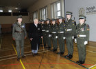 Lt Col (Retired}) Ned Cusack, Moyculln, Inspects a Guard of honoue  at his hundred Birthday celebrations , at Dun Ui Mhaoiliosa Renmore ,