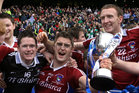 from left,<br /> Clonbur's, Enda Joyce, Seamus O'Donnell and Gerry Walsh, after they defeated Derrytresk in the All-Ireland Junior Club Football Championship Final at Croke Park.