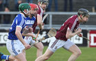 Galway v Laois 3rd round game in the Allianz National Hurling League at the Pearse Stadium.<br /> Galway's Paul Flaherty and Ryan Mullaney and Paddy Whelan, Laois