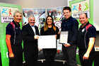 <br /> Cllr Thomas Welby, presents Mairead Ni Fhatharta, Inish Maan, Aran Islands with the Galway  Sports Partership Fit Towns 20017 Award, in the Clayton Hotel, Also in the picture are, Mick Curley, Adrian O Coincheáinn and Jason Craughwell,