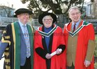 81 year old Brega Webb from Headford  who graduated from NUI Galway this week with a PhD. Brega is pictured with NUI Galway President Professor Ciarán Ó hÓgartaigh and her supervisor Dáibhí Ó Cróinín, Professor of History at NUI Galway.