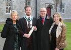 Joe Hynes of Rockbarton Green, Salthill, with his parents Claire and Seamus Hynes and sister Katie, after he was conferred with the degree of B A, Honours, at NUI Galway.