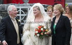 Gay Byrne and his wife Kathleen Watkins arriving with their Daughter Crona at Spiddal Church. 28 September 2004