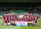 Galway v Mayo 2019 TG4 Connacht Ladies Senior Football Final replay at the LIT Gaelic Grounds, Limerick.<br /> The Galway panel. Front row, left to right: Leanne Coen, Shauna Molloy, Orla Murphy, Fabienne Cooney, Olivia Divilly, Mairéad Seoighe, Tracey Leonard (Captain), Sinéad Burke, Megan Glynn, Charlotte Cooney, Roisín Leonard and Amy Coen. Back row: Bronagh Murphy, Riona Ní Flatharta, Lucy Hannon, Barbara Hannon, Mairéad Coyne, Roisín Ní Chonghaile, Lisa Murphy, Dearbhla Gower, Nicola Ward, Áine McDonagh, Louise Ward, Sarah Conneally, Sarah Lynch and Noelle Connolly.