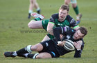 Connacht v Ospreys Guinness PRO14 game at the Sportsground.<br /> Connacht's Kieran Marmion tackles Stephen Myler, Ospreys