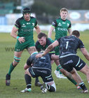 Connacht v Ospreys Guinness PRO14 game at the Sportsground.<br /> Connacht's Quinn Roux and Ultan Dillane and Sam Parry and Rhodri Jones, Ospreys