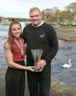 Katie O'Brien, Bronze Medal medal winner in the Para PR2 single Scull's event at the World Rowing Championships in Linz Austria, pictured with Martin Kilbane, head of Para Rowing Ireland, at the reception at Galway Rowing Club.