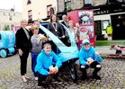 <br />  At the launch of Galways Anti Gum Litter  Awareness Programme, at the Square Clifden, were: kneeling Philip Noone and Matthew Cahill, standing sSinead Ni Mhainnáin, Nuala Cashin, Thomas O Sullivan, Town Warden; Cllr Eileen Mannion, Mayor of County Galway; Mark Molloy and Sheila Griffin.