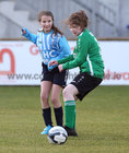 Salthill Devon B v Colemanstown United Under 12 Girls Division 1 Cup final at Eamonn Deacy Park.<br /> Ally Nutley, Colemanstown, and Madeline Hardy, Salthill Devon