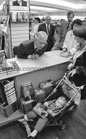 Gay Byrne meeting with one year old Shane Fahy from Seacrest, Salthill, while signing copies of his book 'The Time of My Life' in the Eason Bookshop in Shop Street in October 1989