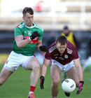 Galway v Mayo 2020 Connacht Senior Football Final at Pearse Stadium. <br /> Galway's Liam Silke and Mayo's Cillian O'Connor
