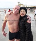 Ivor Robinson with Pauline Kilroy after his Christmas Day swim at Blackrock.