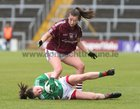 Galway v Mayo 2019 TG4 Connacht Ladies Senior Football Final replay at the LIT Gaelic Grounds, Limerick.<br /> Roisín Leonard, Galway, and Roisín Durkin, Mayo