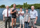 Neil Darby of Lagan Scullers, winner of the Club Mens X 1 event at the Galway Regatta, receiving the Michael and Rosaleen O'Connor Trophy from Emily Durnin at the Galway Regatta. Included in the photograph are Paddy Cronin of Galway Rowing Club, organisers of the regatta (left), Conor Jordan, great grandson of Michael and Rosaleen O'Connor, and Pat Durnin.