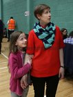 Galway West Green Party candidate Pauline O'Reilly with her daughter Cara (9) at the count centre in Galway Lawn Tennis Club.