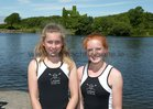 Enya Darby and Anna Pim of Lagan Scullers who were the winners of the Junior 14 Doubles event at the Galway Regatta.