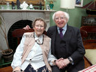 To Mark Eileen Molloy's 100th birthday a mass was celebrated at St Joseph's Church last Saturday. President Michael D Higgins joined with Eileens family, relatives, neighbours and friends at the service. President Higgins is pictured with Eileen after the mass. To mark her birthday Eileen was treated to a surprise street party organised by her family and neighbours at Davis Road in Shantalla.