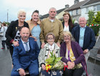 100 years old Eileen Molloy with some of her family at her birthday party in Davis Road. Seated with her are her son Tommy and daughter Maureen Geary. Behind are, from left, her daughter-in-law Bridie Molloy, grandchildren Christina Molloy, Dylan Molloy and Elaine Geary, and Joe Geary, son-in-law.